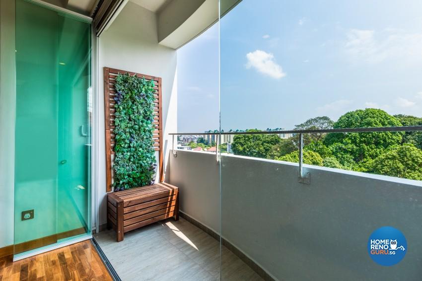 Rustic Design - Balcony - Condominium - Design by U-Home Interior Design Pte Ltd