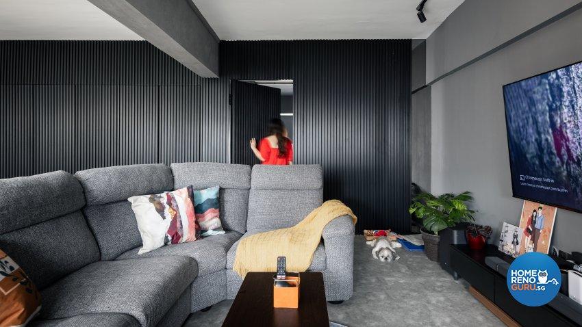 Industrial, Modern Design - Living Room - HDB 4 Room - Design by U-Home Interior Design Pte Ltd