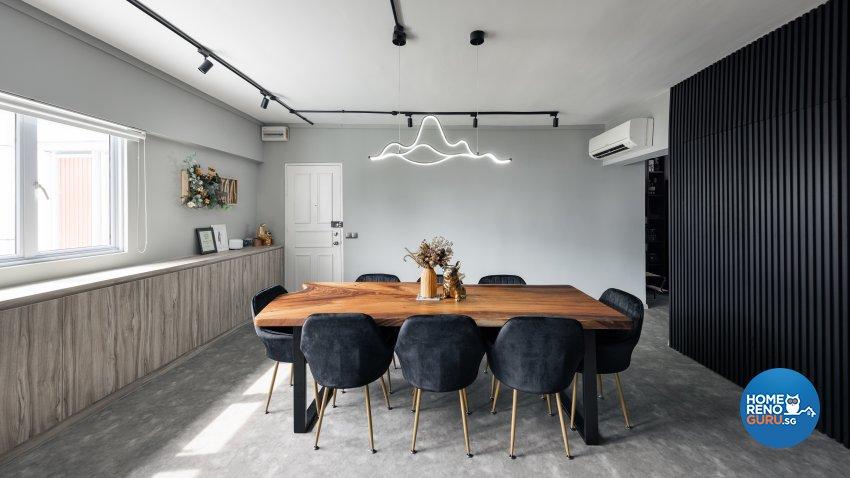 Industrial, Modern Design - Dining Room - HDB 4 Room - Design by U-Home Interior Design Pte Ltd