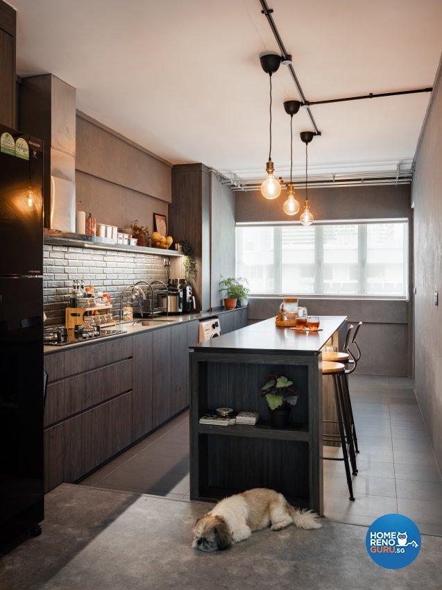 Industrial, Modern Design - Kitchen - HDB 4 Room - Design by U-Home Interior Design Pte Ltd