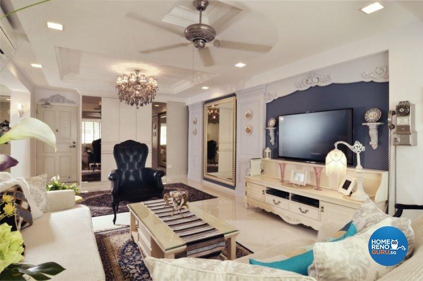 Classical, Country Design - Living Room - HDB Executive Apartment - Design by U-Home Interior Design Pte Ltd