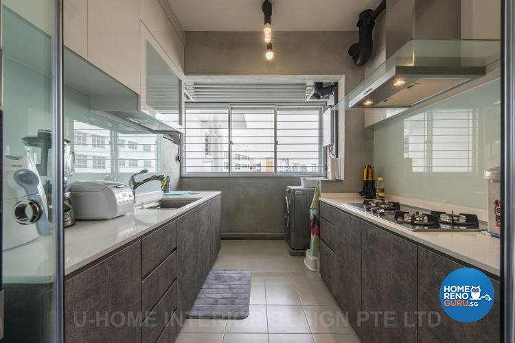 Industrial, Scandinavian Design - Kitchen - HDB 4 Room - Design by U-Home Interior Design Pte Ltd