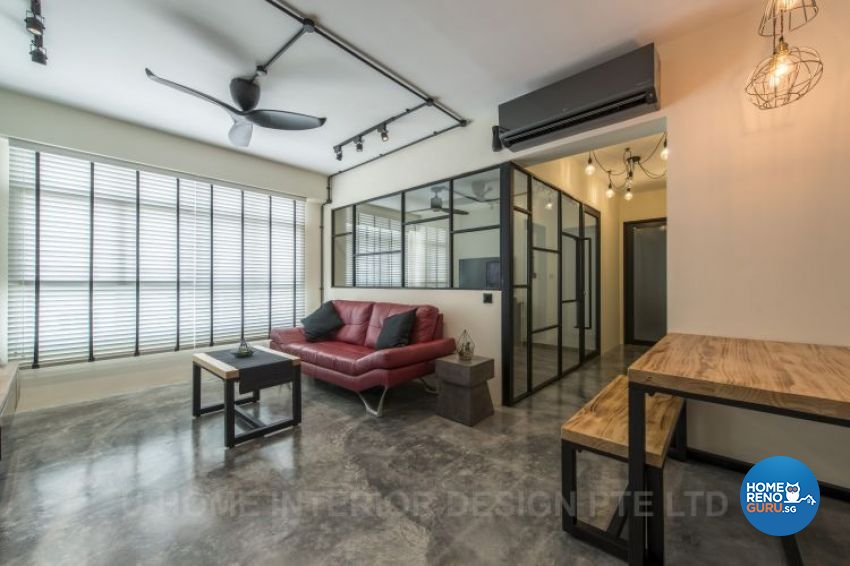 Industrial, Scandinavian Design - Living Room - HDB 4 Room - Design by U-Home Interior Design Pte Ltd