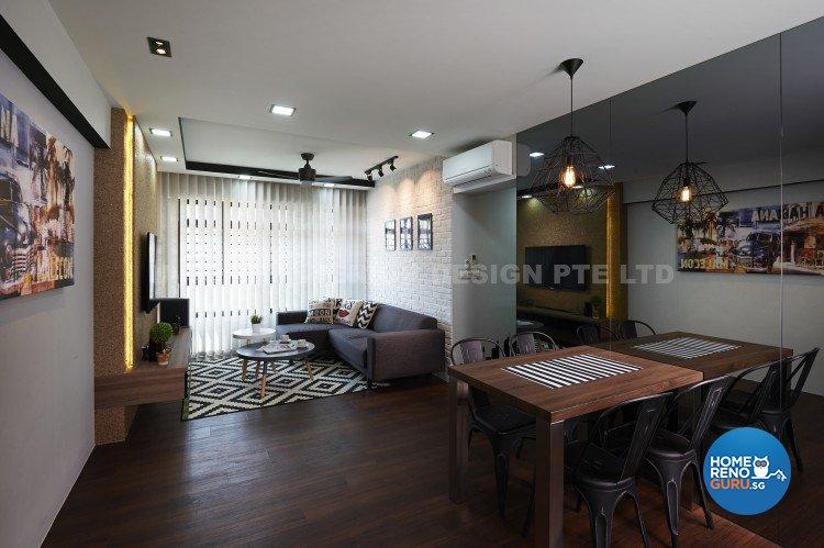 Contemporary, Country, Modern Design - Living Room - HDB 4 Room - Design by U-Home Interior Design Pte Ltd