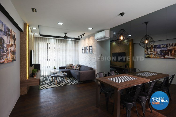 Contemporary, Country, Modern Design - Living Room - HDB 4 Room - Design by U-Home Interior Design Pte Ltd