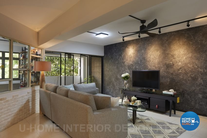 Industrial, Rustic Design - Living Room - HDB Executive Apartment - Design by U-Home Interior Design Pte Ltd