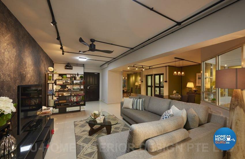 Industrial, Rustic Design - Living Room - HDB Executive Apartment - Design by U-Home Interior Design Pte Ltd