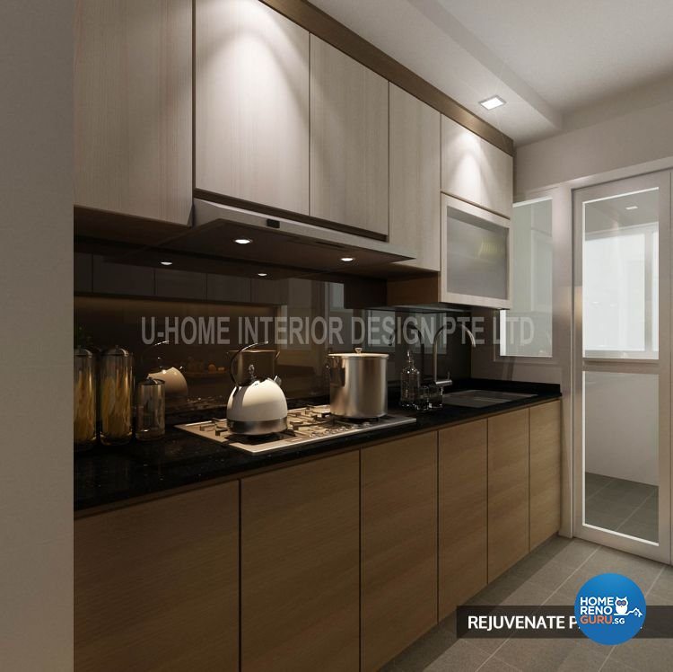 U Home Design & Build Part - 17: Modern Design - Kitchen - HDB 4 Room - Design By U-Home Interior Design
