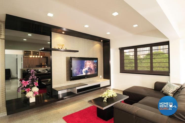 Contemporary, Modern Design - Living Room - HDB 5 Room - Design by U-Home Interior Design Pte Ltd