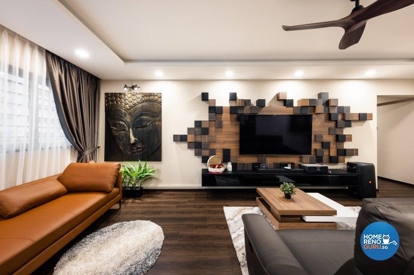 Contemporary, Modern Design - Living Room - HDB Executive Apartment - Design by U-Home Interior Design Pte Ltd