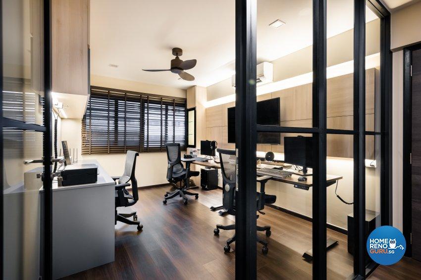 Contemporary, Modern Design - Study Room - HDB Executive Apartment - Design by U-Home Interior Design Pte Ltd