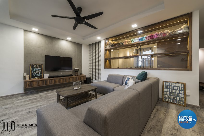 Contemporary, Rustic, Scandinavian Design - Living Room - HDB 5 Room - Design by Urban Design House Pte Ltd