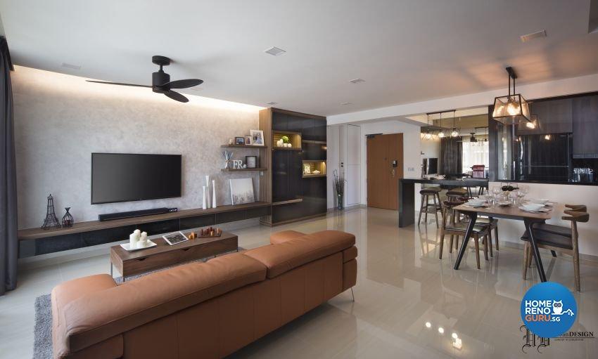Contemporary Design - Living Room - HDB 5 Room - Design by Urban Design House Pte Ltd