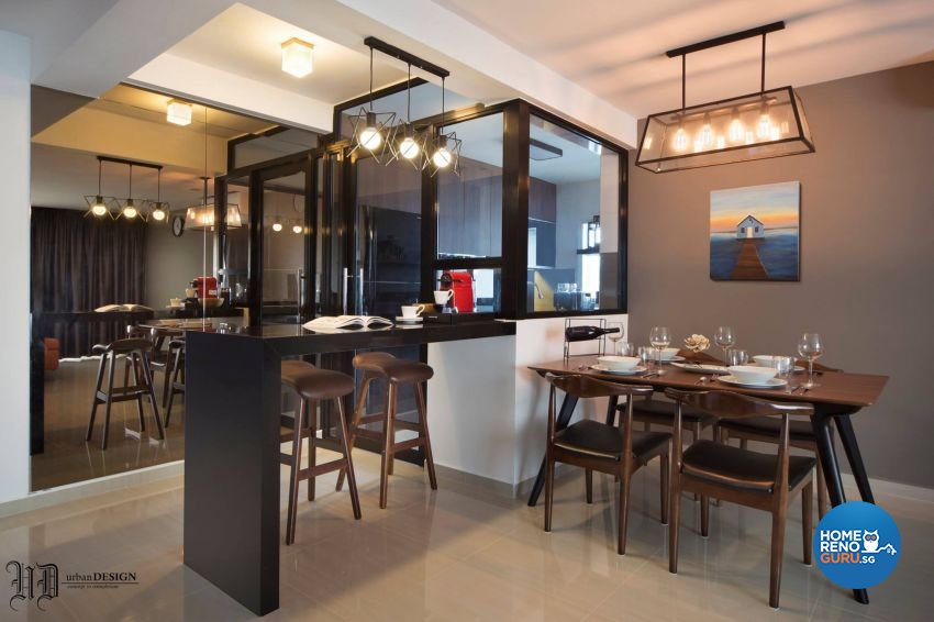 Contemporary Design - Dining Room - HDB 5 Room - Design by Urban Design House Pte Ltd