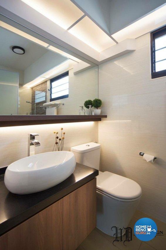 Contemporary Design - Bathroom - HDB 5 Room - Design by Urban Design House Pte Ltd