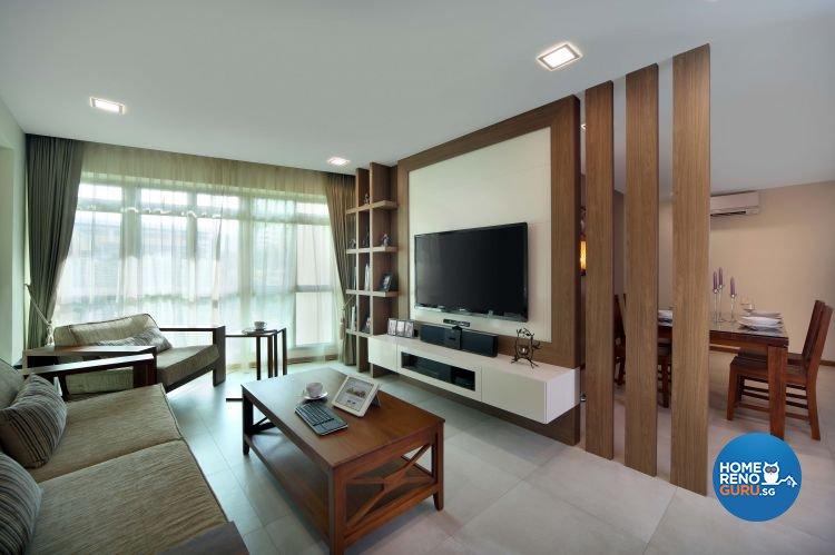 Contemporary, Resort, Rustic Design - Living Room - HDB 5 Room - Design by Urban Design House Pte Ltd