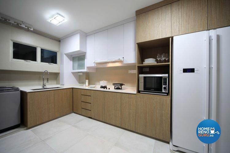 Contemporary, Resort, Rustic Design - Kitchen - HDB 5 Room - Design by Urban Design House Pte Ltd