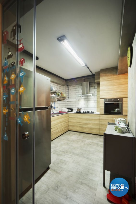 Industrial, Retro Design - Kitchen - HDB 4 Room - Design by Vegas Interior Design Pte Ltd