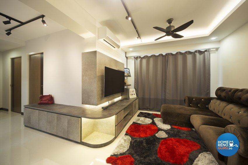Industrial Design - Living Room - HDB 4 Room - Design by Vegas Interior Design Pte Ltd