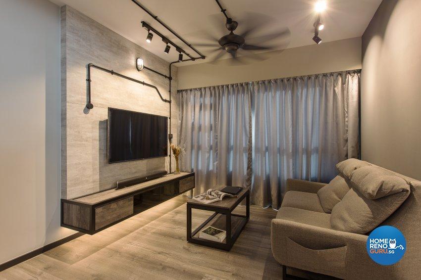 Industrial, Rustic, Vintage Design - Living Room - HDB 4 Room - Design by Vigorous Design
