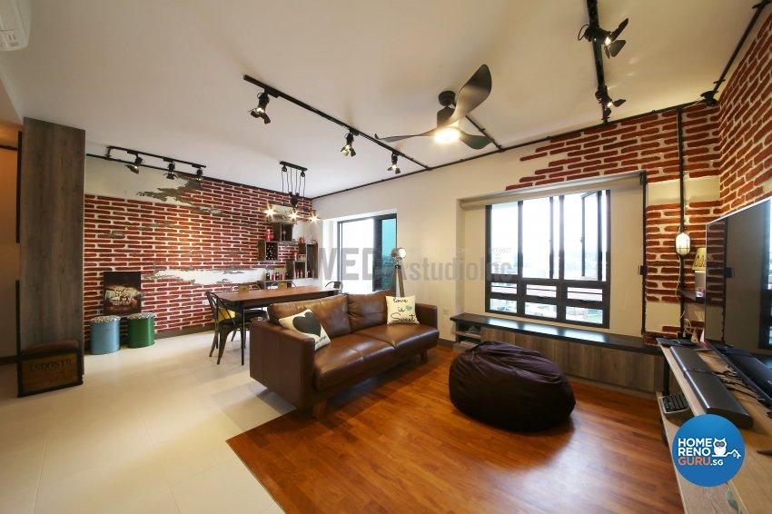 Industrial, Retro Design - Living Room - HDB 4 Room - Design by WEDA StudioInc Pte Ltd