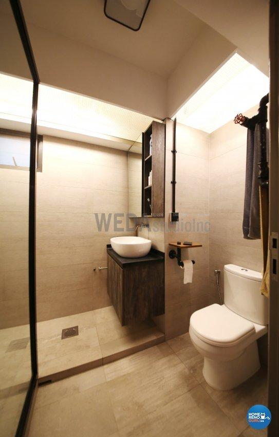 Industrial, Retro Design - Bathroom - HDB 4 Room - Design by WEDA StudioInc Pte Ltd