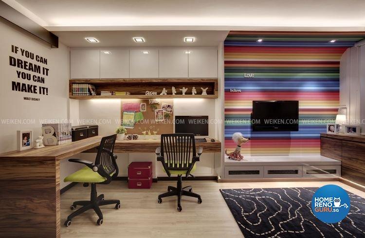Contemporary, Modern, Retro Design - Study Room - HDB 3 Room - Design by Weiken.com Design Pte Ltd
