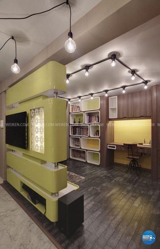 Modern, Retro Design - Study Room - HDB 3 Room - Design by Weiken.com Design Pte Ltd