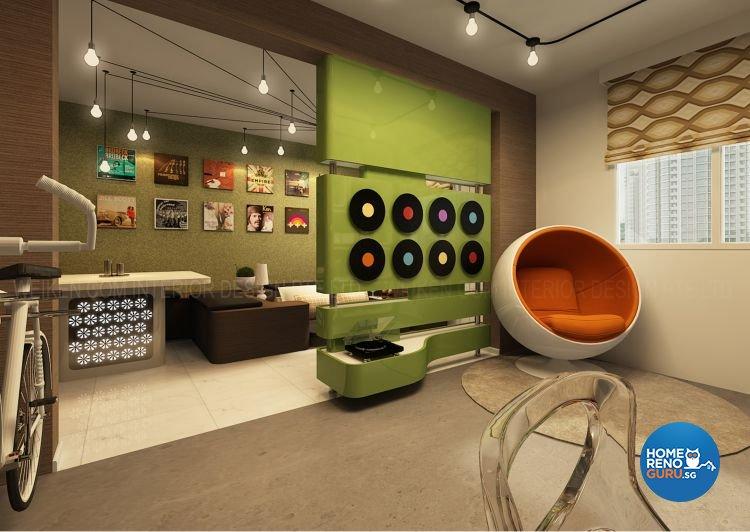 Modern, Retro Design - Living Room - HDB 3 Room - Design by Weiken.com Design Pte Ltd