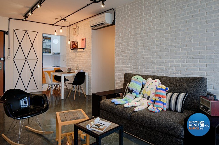 Industrial, Modern, Scandinavian Design - Living Room - HDB 4 Room - Design by Weiken.com Design Pte Ltd