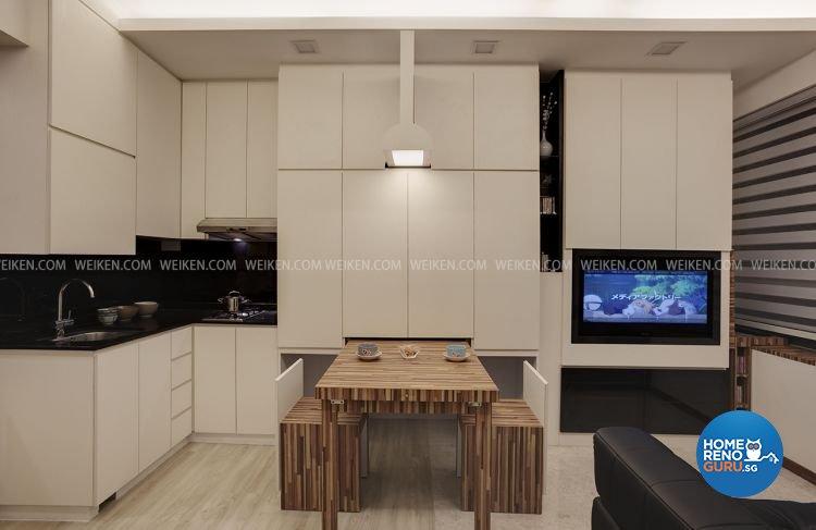 Contemporary, Modern, Rustic Design - Dining Room - HDB Studio Apartment - Design by Weiken.com Design Pte Ltd