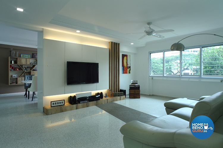 Minimalist, Modern Design - Living Room - HDB 5 Room - Design by Wideangle Pte Ltd