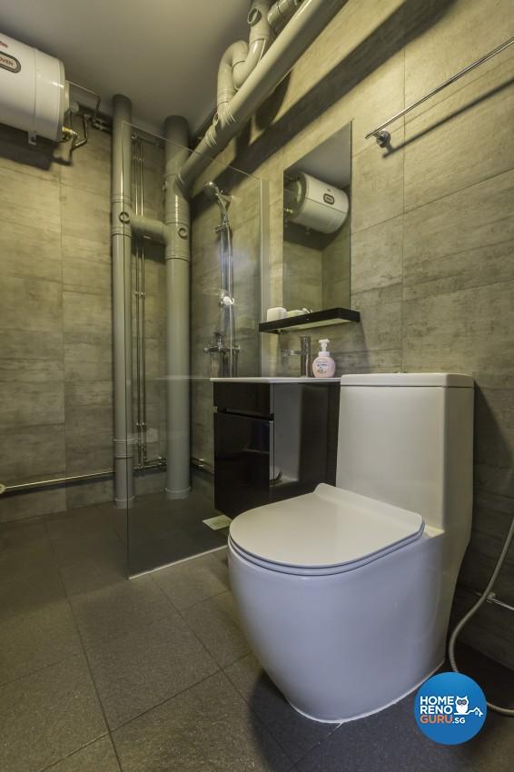 Industrial Design - Bathroom - HDB 4 Room - Design by Y-Axis ID