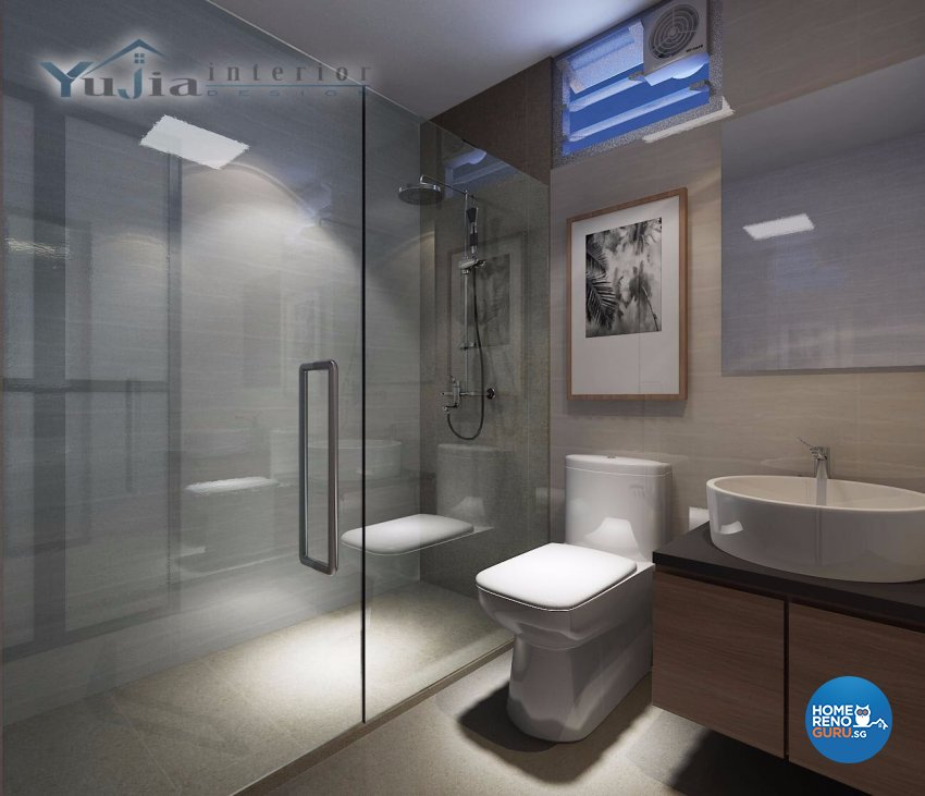 Contemporary Design - Bathroom - HDB 4 Room - Design by Yujia Interior Design Pte Ltd