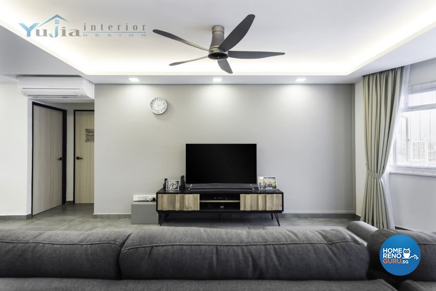 Industrial Design - Living Room - HDB 5 Room - Design by Yujia Interior Design Pte Ltd