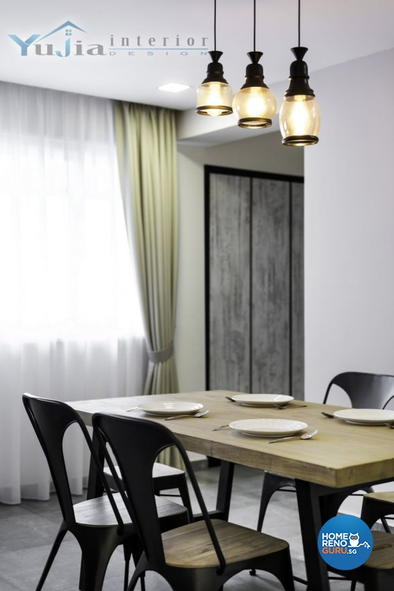 Industrial Design - Dining Room - HDB 5 Room - Design by Yujia Interior Design Pte Ltd