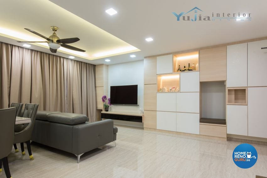 Contemporary Design - Living Room - HDB 5 Room - Design by Yujia Interior Design Pte Ltd