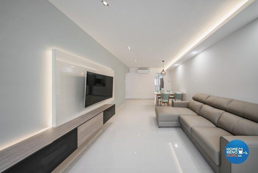 Contemporary, Minimalist, Modern Design - Living Room - HDB 4 Room - Design by Zenith Arc Pte Ltd