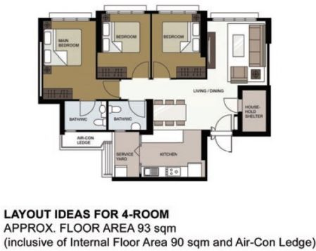 Floor Area 93sqm (Inclusive Of Internal Floor Area 90sqm And Air Con Ledge)