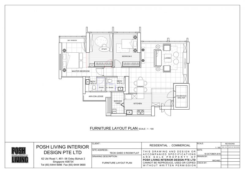 3D Drawing For With Kitchen Partition Wall Inclusive Of Internal Floor Area 113 Sqm And Air Con Ledge